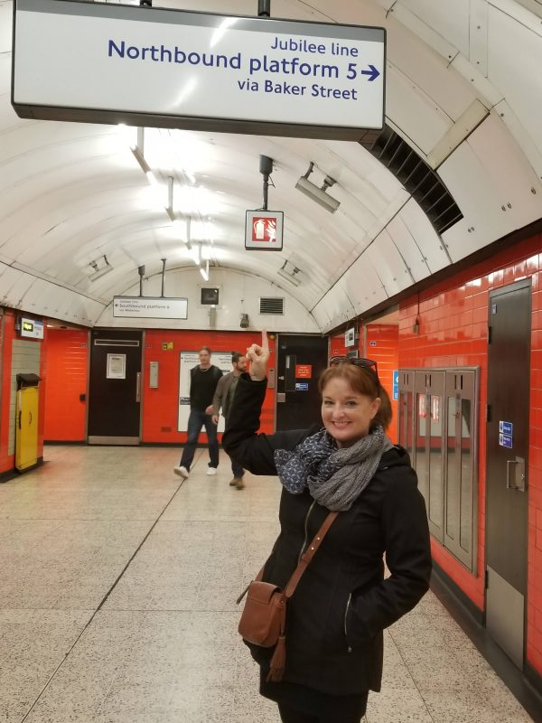 Marina Reznor at Belsize Park Underground Station, heading to Silver Jubilee